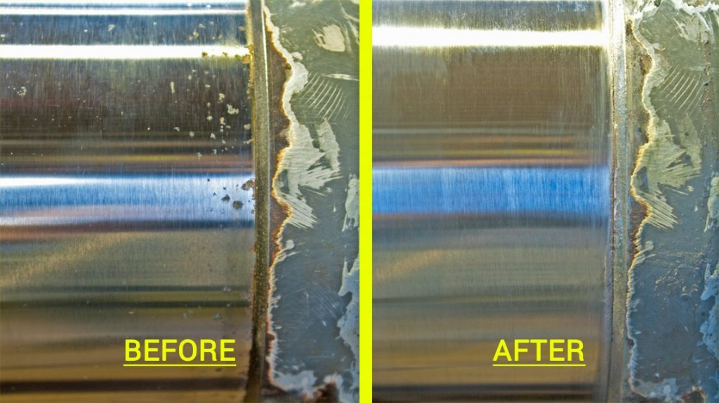 Fig. 2 - Before and after comparison of a localised chrome repair.
